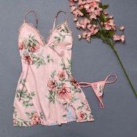 MIARHB Floral Nachtwäsche Frauen-Pyjamas Nachtwäsche Weibliche Nightgowns Blume Unterwäsche Versuchung Unterwäsche Negligée Pyjama femme