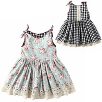 Vieeoease Girls Dress Floral Kids Clothing 2019 Summer Fashion sin mangas Plaid Bow dos lados desgaste Princess Dress CC-251