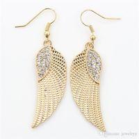 Crystal Angel Wing Pendiente Moda Oro Plata Pescado Gancho de Oreja Antiguo Cuelga Araña Mujeres Colgante Pendientes Joyería de Fiesta Regalo para Niñas