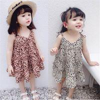 Yeni leopar baskı kızlar elbiseler çocuklar Prenses Elbiseler kızlar Plaj Elbiseleri parantez etek çocuklar elbise Çocuklar Giysi Tasarımcısı Kızlar A4638 giymek