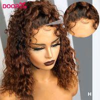 Renkli İnsan Saç Peruk Kahverengi% 250 Dantel Ön İnsan Saç Peruk ile Bebek Mızraplı 13x4 Su Dalga Kısa Bob Remy H