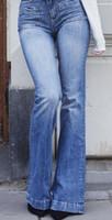 Kadınlar Yüksek Bel Kot Modacı Jeans Skinny bellbottoms Kızlar İnce Denim Bayan Pantolon Ücretsiz Kargo Yıkanmış