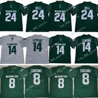NCAA Michigan State Spartans # 14 Brian Lewerke 8 Kirk Cousins 24 Lebeon Bell 26 그린 화이트 스티치 B1G MSU College Football Rush Jersey