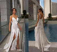 2019 New Simple Boho Abiti da sposa Julie Vino Lace Beads Sexy Side Split Spaghetti Ruffles Backless Bohemian Abiti Da Sposa BC0637