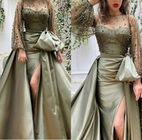Arabic Sexy Evening Dresses With Detachable Train High Split...