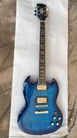 Chitarra elettrica della chitarra elettrica della fabbrica personalizzata Nuovo arrivo 24F SG scoppio in blu