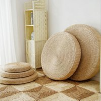 5 Size Hot Natural Straw Round Pouf Tatami Cushion Floor Cus...