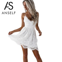 Anself Robe dentelle blanche sexy femmes Spaghetti Strap dentelle Mini robe profonde V Backless Up Clubwear du Club Beach Party Robes
