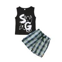 FOCUSNORM neue Art und Weise Sommer-Kleinkind-Baby-Kind-Kleidung-Set 2 Stück Set Letters Vest Tops + Checks Shorts Hosen