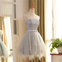 Scoop manches Tulle A-ligne bon marché court Robes de bal avec jupe irrégulière courte robe de bal avec Paillettes dos ouvert Gris Party Dress