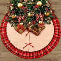 Weihnachtsbaum Röcke Bowknot Patchwork Home Pad Rote Gitter Leinen Ornament Festival Liefert Dekoration ZZA1115 12 stücke