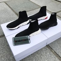 Con Box 2019 Brand Speed ​​Runner Sock Top Quality Triple Nero Oreo Red Flat Trainer Uomo Donna Casual Scarpe Sport US13
