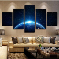 5 Panels Large Size Earth In The Sky Planet Framed Wall Art ...