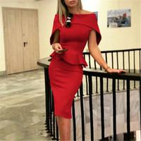 4 Farben-Frauen-eleganten Midi-Kleid Rüschen Solide schwarze dünne Bodycon weg vom Schulter-Abend-Partei-Cocktail-Verein-Kleid Sexy