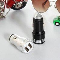 TOP de Qualidade 3.1A Segurança Martelo Metal de alumínio Dual USB Car Charger para Samsung S10 NOTA 10 Universal Output 2 portas USB rápida adaptador de carga