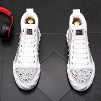 Neue Designer Männer Hohe Qualität Nieten Niet Spike Strass Casual Schuhe Britisch Mann Trending Freizeit Schuhe Männlich Schwarz Weiß