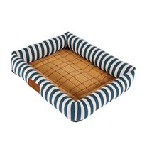Tutta la stagione Pet Dog Bed Soft Fleece Puppy Cat House con coperta Bone Pillow Nest estate raffreddamento Rattan Mat 7 colori prodotti per animali