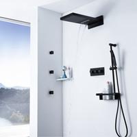 검은 강우량 샤워 세트 따뜻한 것과 차가운 샤워 꼭지 벽에 장착 된 욕실 폭포 샤워 헤드 슬라이드 바 손에 들고 소나기
