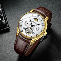 fase Top Marca Tevise New Homens Relógio Automático Relógio Mecânico Lua Tourbillon esporte relógio de pulso de couro Strap Relogio Masculino