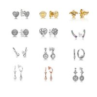 Authentic Stud Earrings with Clear CZ fits for pandora jewel...