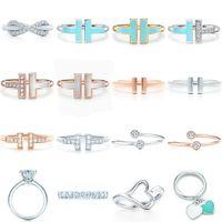 Новый 100% 925 Стерлингового Серебра Оригинал JZ 08 TFB Кольцо Мода Классический T-Ring Свадьба Годовщина Роскошная Пара Кольцо