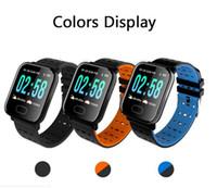 A6 Spor Akıllı Watch Band Kan Basıncı Bilezik Kalp Hızı Monitörü Kalori Izci IP67 Su Geçirmez Bileklik Saatler