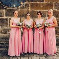 Sexy roze lange 2020 bruidsmiad jurken kant geappliceerd chiffon elegante backless country meid van eer gown goedkoop