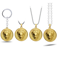JoJos Bizarre Adventure Keychain Pendant Choker Necklaces Giorno Giovanna Keyring Car Key Chains Gifts For Men Women