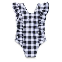 Children Plaid print Swimwear baby girls ruffle Flying sleev...