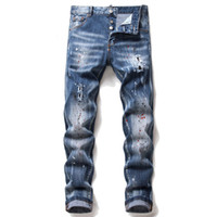 Unique Mens Painted Slim Fit Jeans Designer De Moda Skinny Lavado Motocycle Denim Calças Hip Hop Calças Motoqueiro 1066
