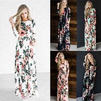 Floral Flores Vestidos Maxi Bohemian vestido estampado Bouquet Casual Full-contornou Vestido Moda Túnica elegante roupa Vestido Vestidos C6712