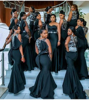 2021 Sirena africana Sexy Maid of Honor Vestidos Vestidos de noche Apliques de encaje Larga Dama de honor Fiesta de desgaste