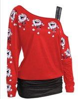 Las mujeres del estilo sport Camisetas decoración del cordón de la manga de la impresión de cuerpo entero Tipo de inclinación collar de la ropa regular