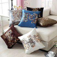 Fashion Bronzing Flocking Sofa Pillow Personality Square Car...