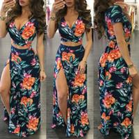 2pcs vestidos para la playa de vacaciones de verano vestidos del V Neck con ropa para mujer de Split flora Impreso