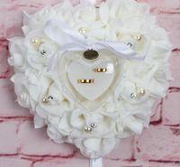 2020 Bloemring Kussens Kleuren Bruids Accessoires Ceremonie Bruiloft Feestartikelen Kunstmatige Roses Hartvormige Bruids Ringdrager Al6489