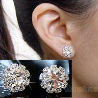 귀걸이 새로운 브랜드 패션 구형 크리스탈 꽃 스터드 귀걸이 채널 스터드 귀걸이