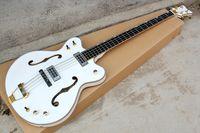 4 corde bianco Semi-Hollow Body Electric Bass Chitarra con hardware dorato, tastiera in palissandro, offerta Personalizza