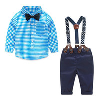 Kid Одежда Осень 2018 Весна Новорожденный Детские наборы для новорожденных Одежда Gentleman Костюм клетчатую рубашку Bow Tie Приостановка брюки 2pcs костюмы