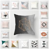 hot 18 Stile Moderno semplice copertura del cuscino Nordic rosa marmo geometrica fodere per cuscini divano pelle di pesca mucchio coperture per cuscini T2I5812
