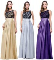 En Stock cordón de plata baratos vestidos de fiesta raso una línea de vestido Evenig madre larga del partido formal de los vestidos de la novia CPS224