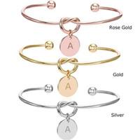 26 Brief Cuff-Knoten-Armband-Initialen geöffnetes Armband Rose Gold Silber Gold Liebes-Herz-Charme-Armband-Monogramm-Brautjungfern-Geschenk DIY Schmuck