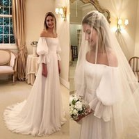 2020 Cheap A Line Chiffon Wedding Dresses Off Shoulder Long ...