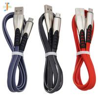 Cable micro USB 1 m Aleación de zinc Cable trenzado plano de carga rápida para Samsung Huawei HTC Android Cable USB Cargador Cable 300 unids / lote