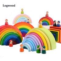 De gran tamaño del arco iris apilador de madera Módulo juguetes para los niños Montessori Educación aclara el tren