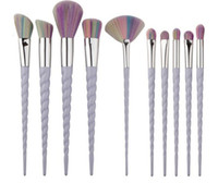 10Pcs  Rainbow Hair Makeup Brushes Unicorn Spiral Thread Eye...