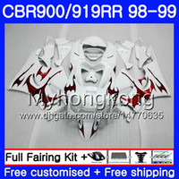 Bodys per HONDA CBR 919RR CBR 900RR CBR919RR 1998 1999 278HM.51 CBR900RR CBR 919 RR CBR900 RR CBR919 RR 98 99 Rosso fiamme kit carenatura bianco