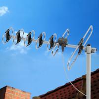 60-мильная наружная телевизионная антенна Цифровая усиленная дальнобойная Двухголовочная Черная проводная антенна 470-860 МГц 10 м 3C2V без подставки