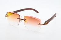 مصنع الجملة بدون شفة حمراء الماس البصرية 3524012-a الخشب النظارات الشمسية للجنسين الأزياء جودة عالية c الديكور منحوتة عدسة زجاج الذهب معدن الإطار النظارات