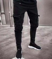 2019 Fashion Men Long Length Jean Pants with Pockets Black Hip Hop Pencil Skinny Denin Pants
